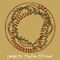 Prim Vine Candle Mat-4 Inch & Larger -Colorwork