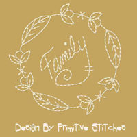Family Wreath-Redwork-4 Piece SET-4-Inch