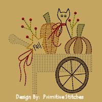 Pumpkin Cart-5x7-Motif/Redwork